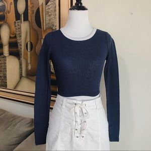 Navy Cropped Long Sleeve